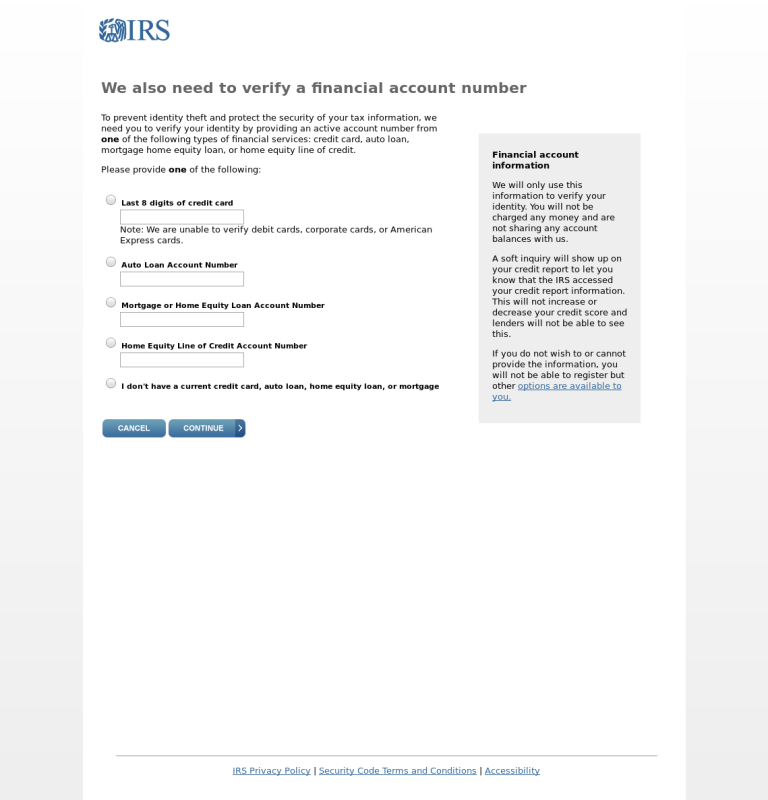 IRS Phishing Scam form